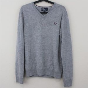 Fred Perry 100% Wool Gray V-Neck Sweater C466